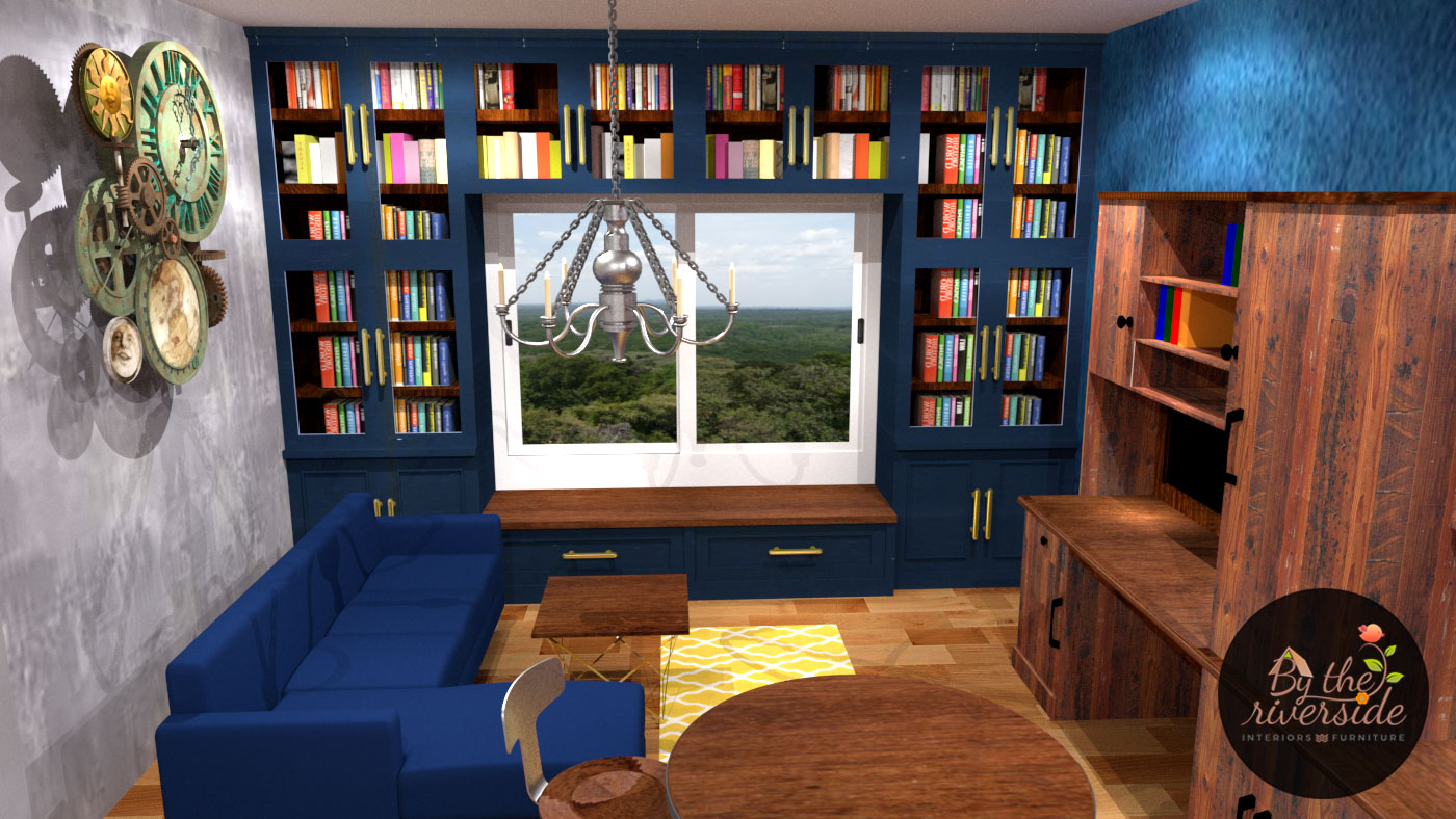 book shelf designs with seating