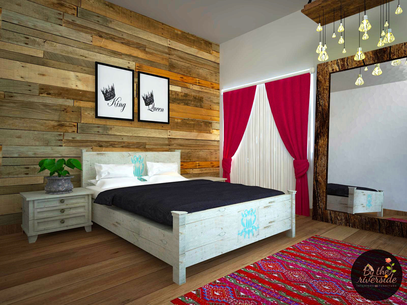 Rustic bedroom interiors