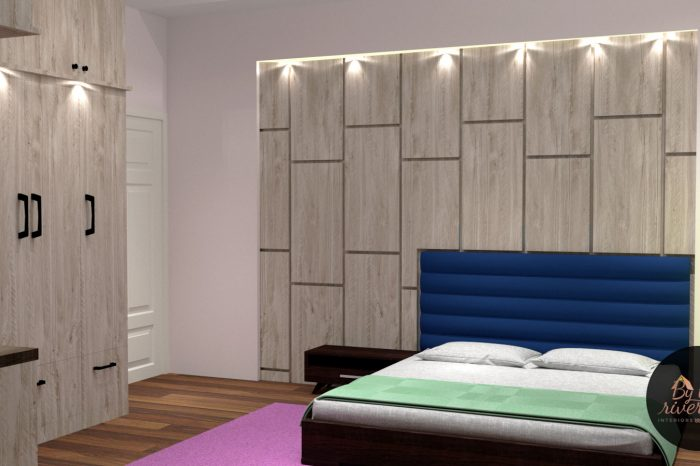 Wooden bedroom interiors